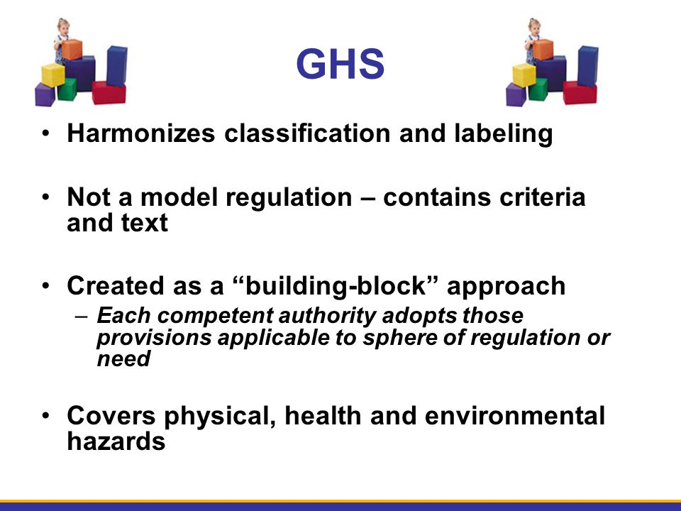 GHS Harmonizes classification and labeling