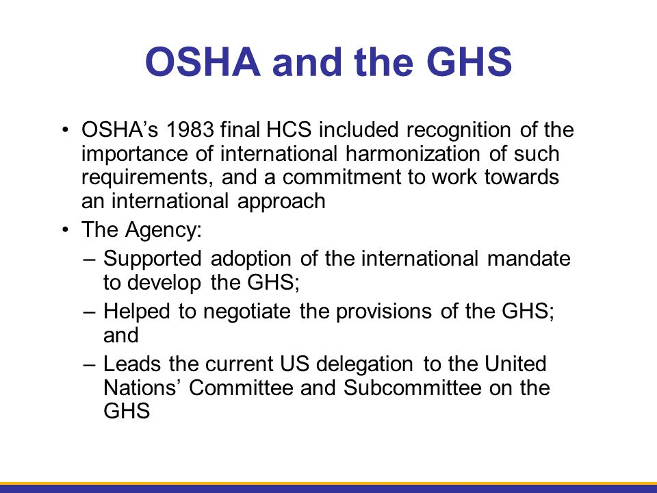 OSHA and the GHS