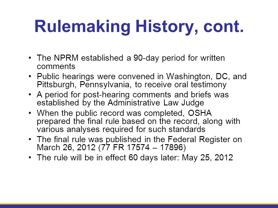 Rulemaking History, cont.