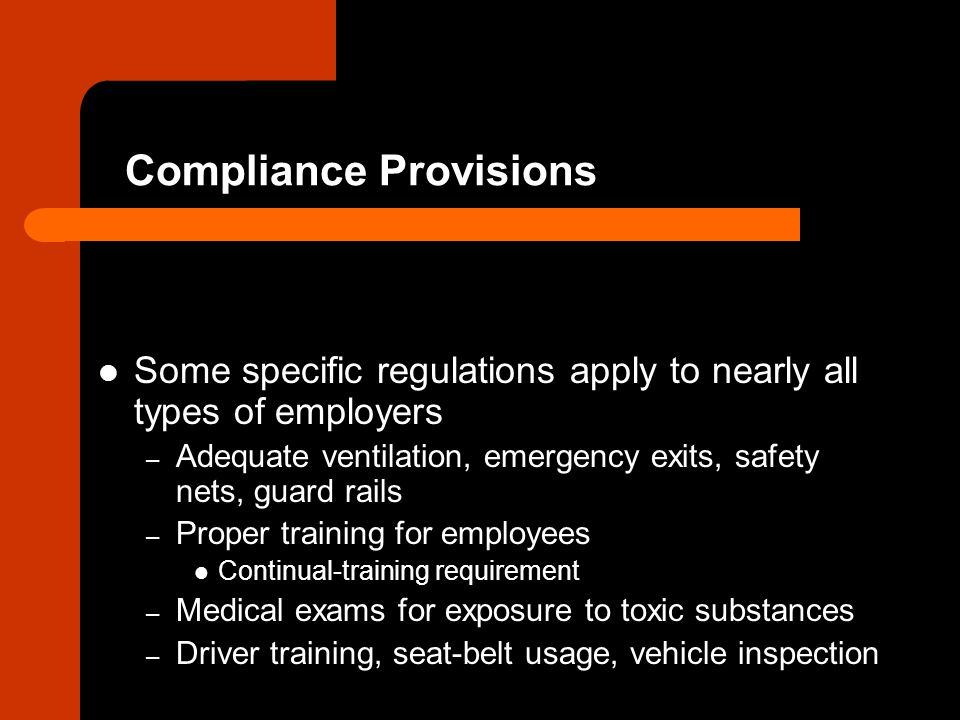 Compliance Provisions