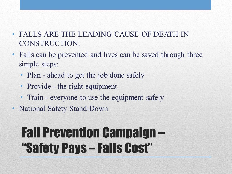 Fall Prevention Campaign – Safety Pays – Falls Cost