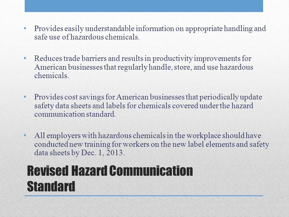 Revised Hazard Communication Standard