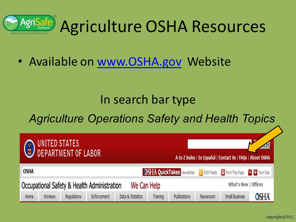 Agriculture OSHA Resources