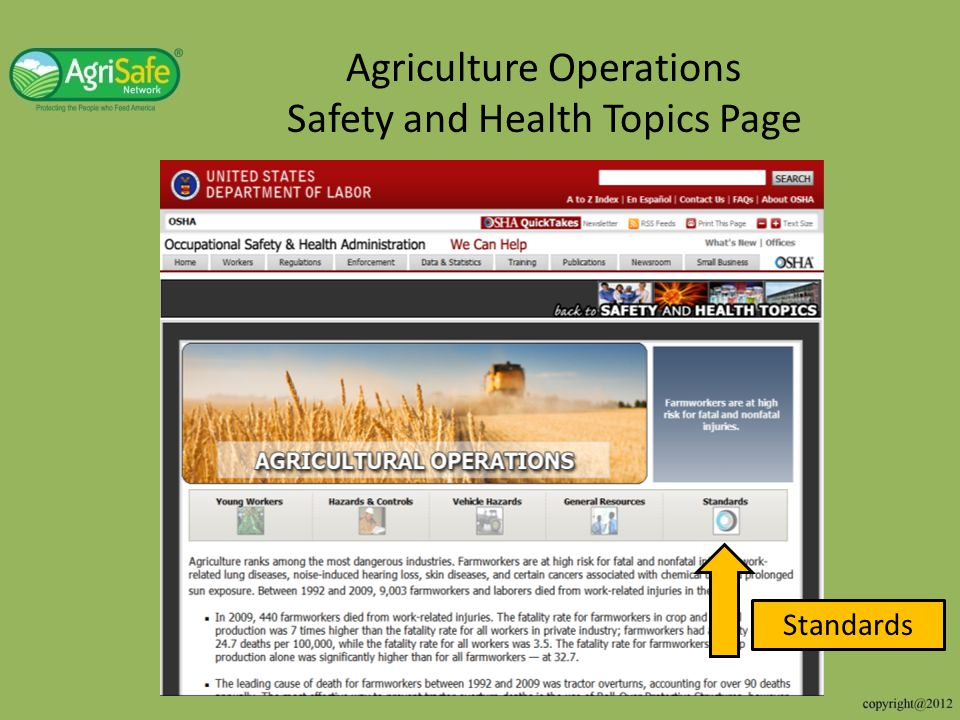 Agriculture Operations Safety and Health Topics Page