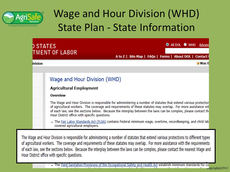 Wage and Hour Division (WHD) State Plan - State Information