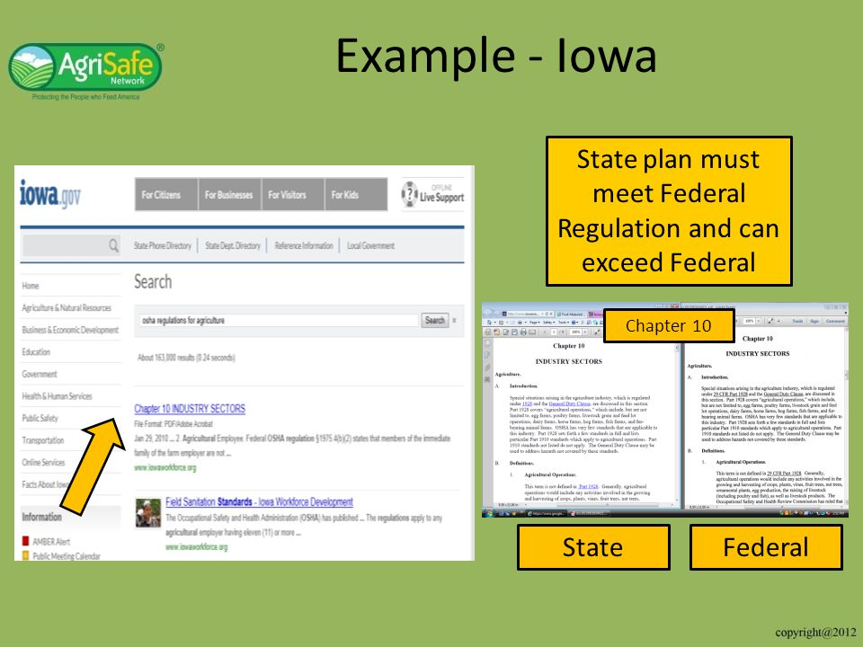 State plan must meet Federal Regulation and can exceed Federal
