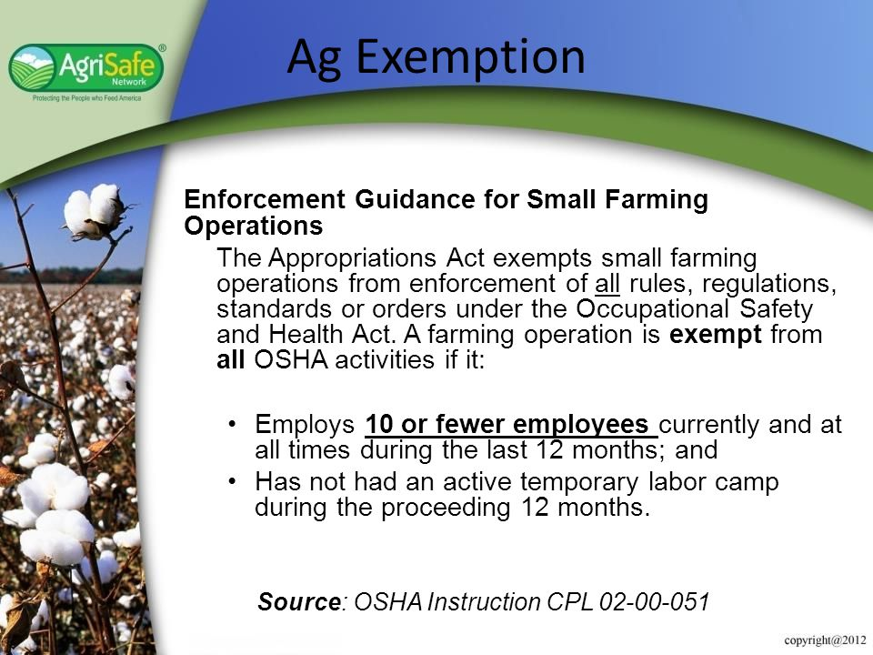 Ag Exemption Enforcement Guidance for Small Farming Operations