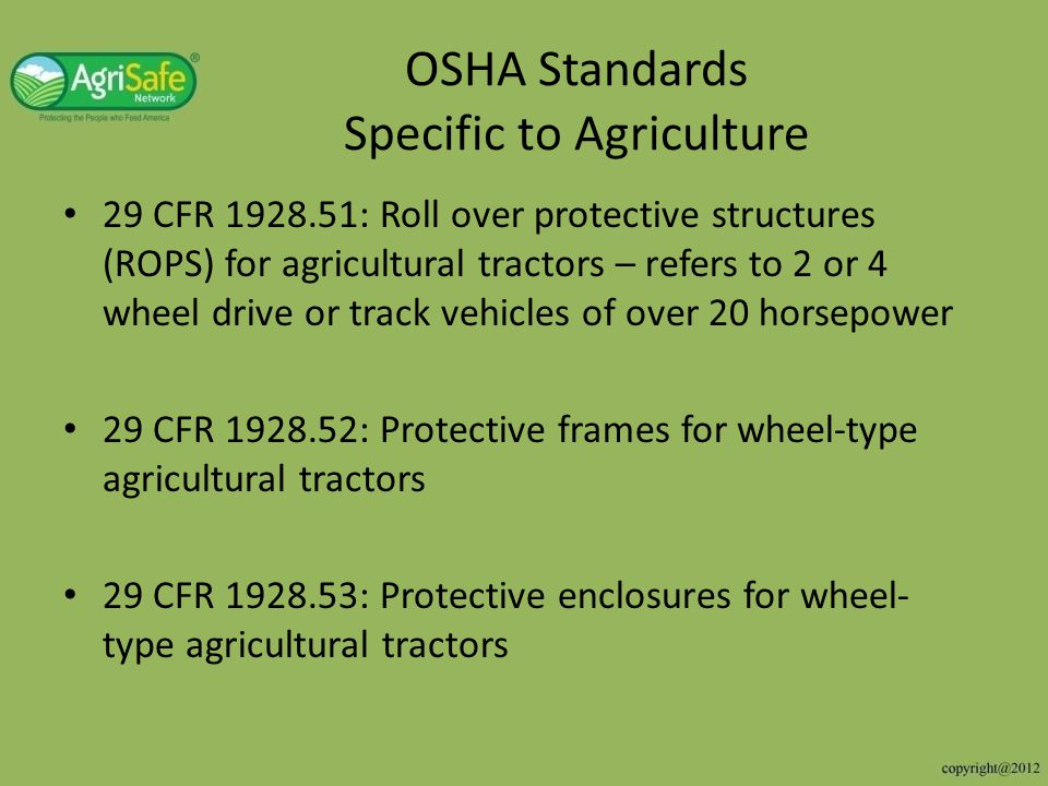 OSHA Standards Specific to Agriculture