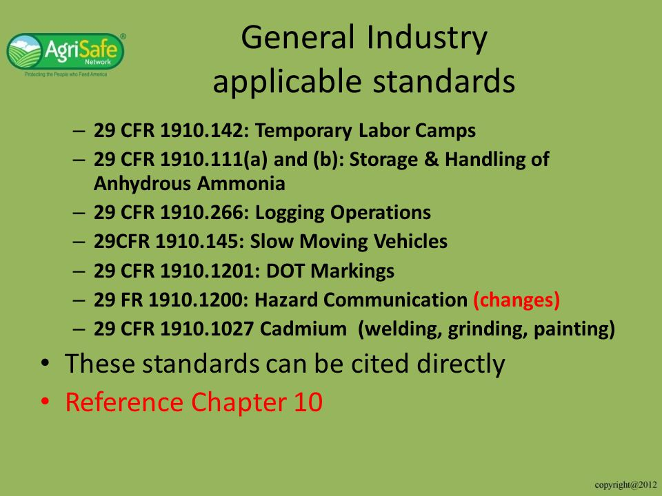 General Industry applicable standards
