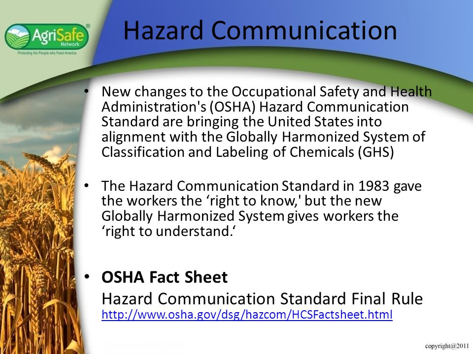 Hazard Communication OSHA Fact Sheet