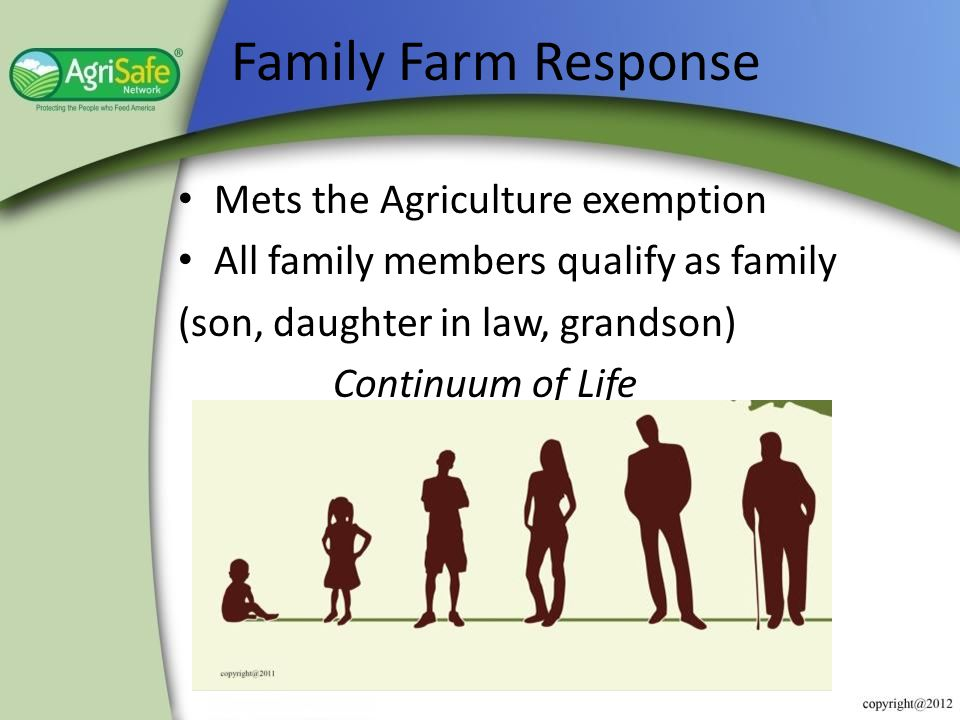 Family Farm Response Mets the Agriculture exemption