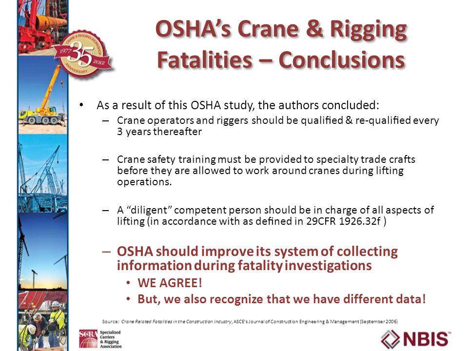 OSHA's Crane & Rigging Fatalities – Conclusions