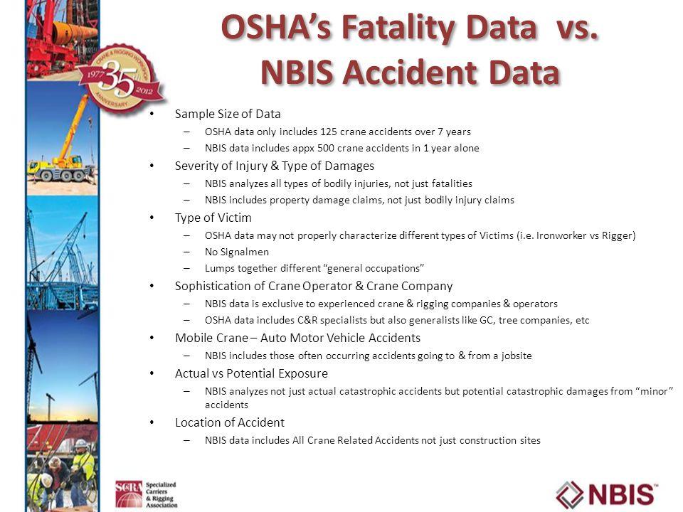 OSHA's Fatality Data vs. NBIS Accident Data
