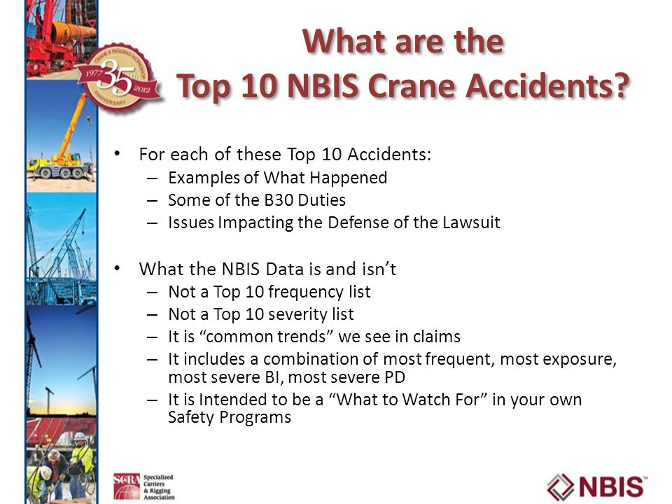 What are the Top 10 NBIS Crane Accidents