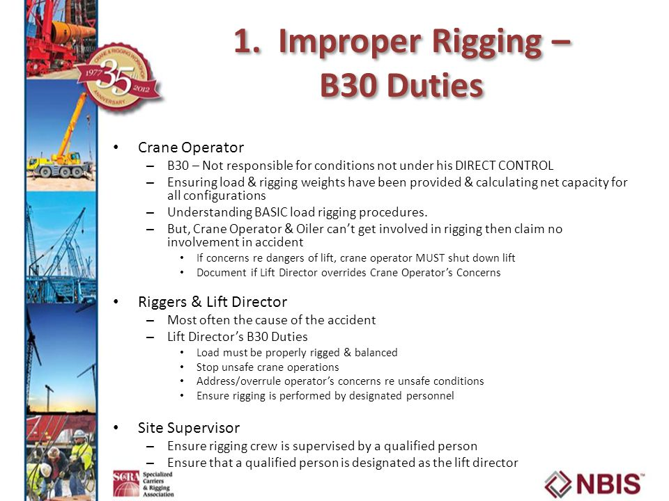1. Improper Rigging – B30 Duties