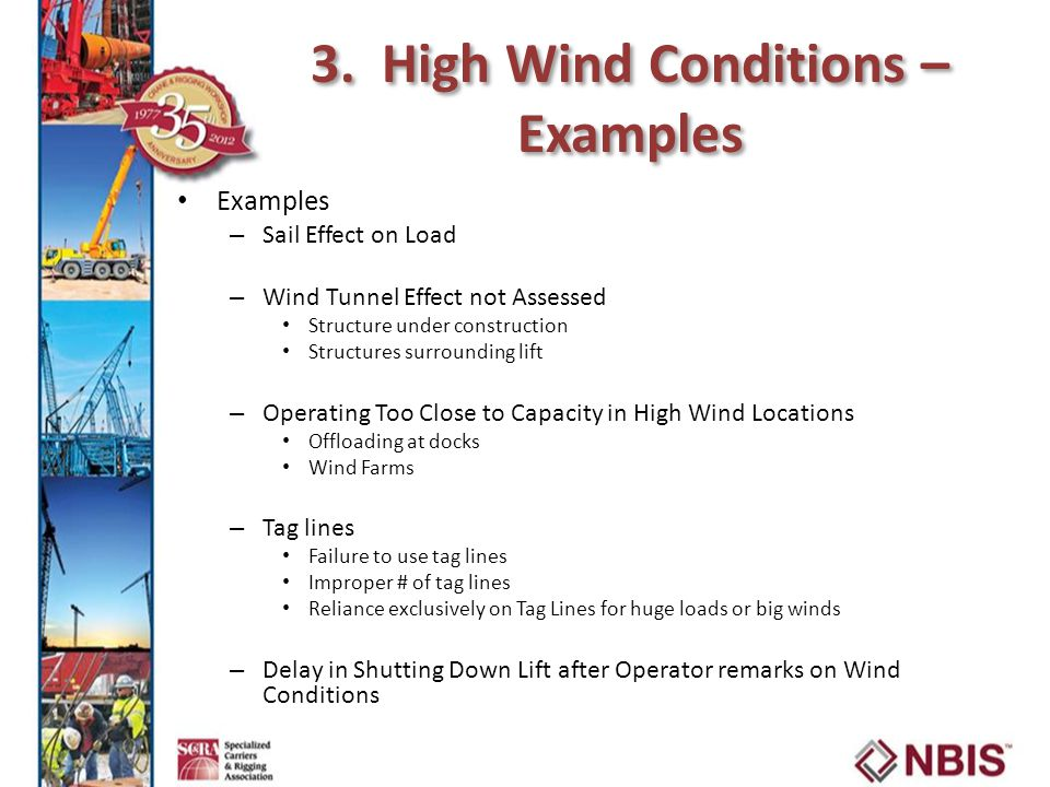3. High Wind Conditions – Examples