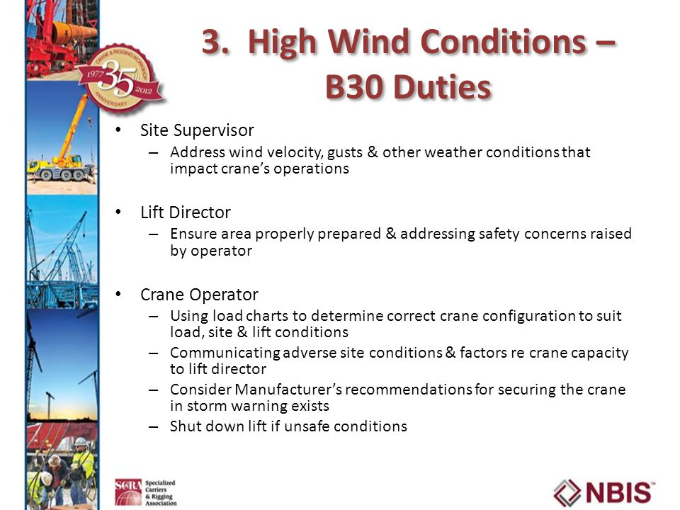 3. High Wind Conditions – B30 Duties