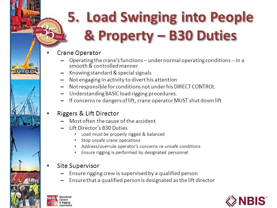 5. Load Swinging into People & Property – B30 Duties