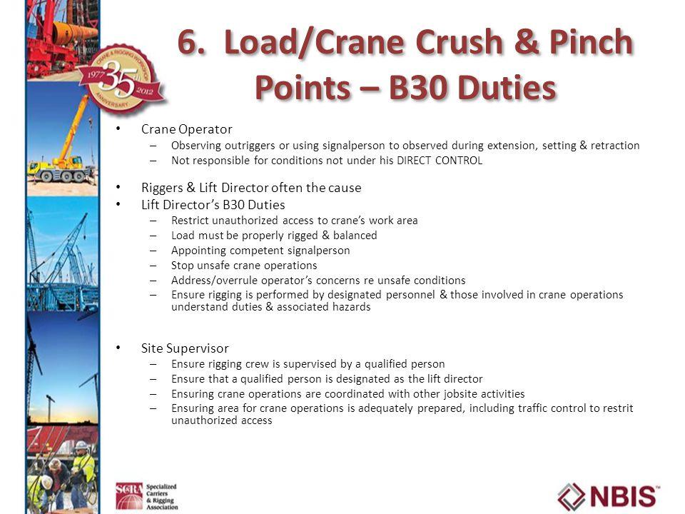 6. Load/Crane Crush & Pinch Points – B30 Duties