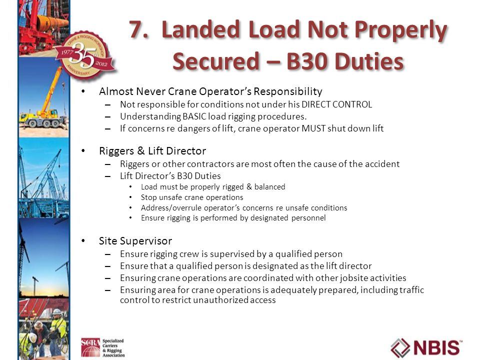 7. Landed Load Not Properly Secured – B30 Duties