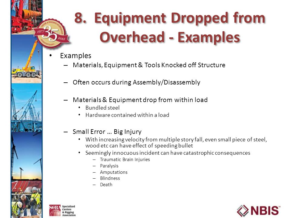 8. Equipment Dropped from Overhead - Examples