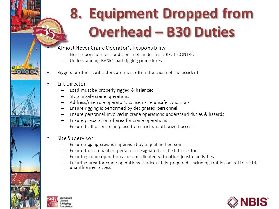 8. Equipment Dropped from Overhead – B30 Duties