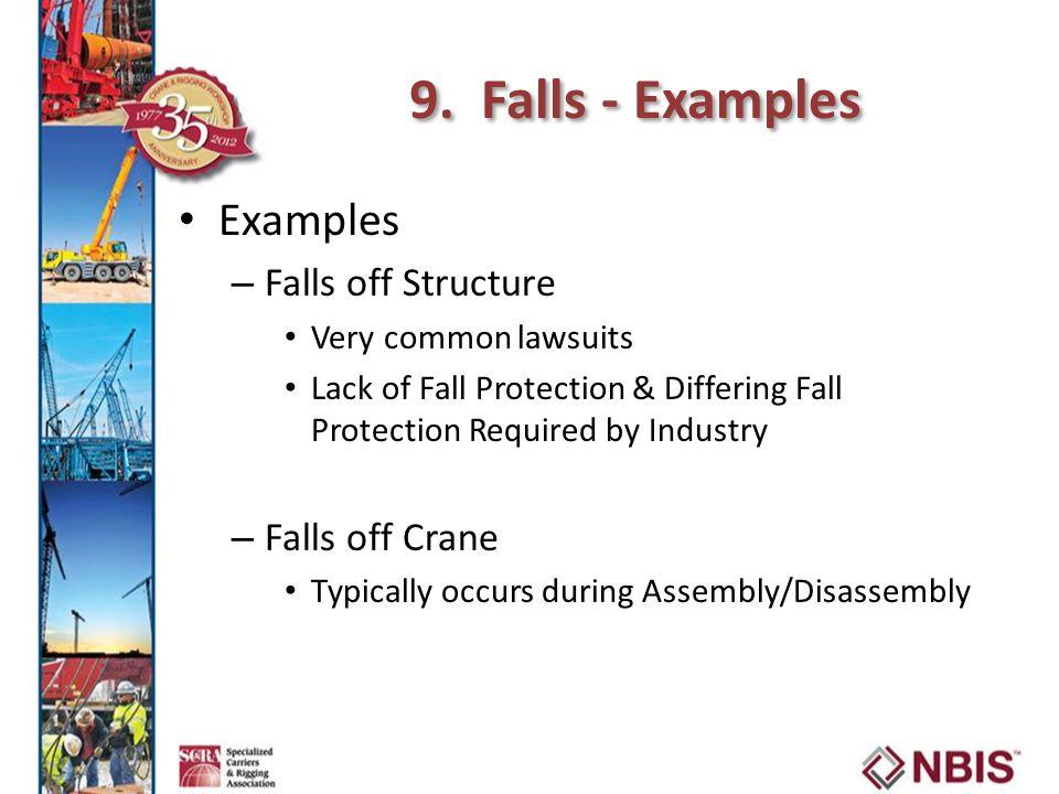 9. Falls - Examples Examples Falls off Structure Falls off Crane