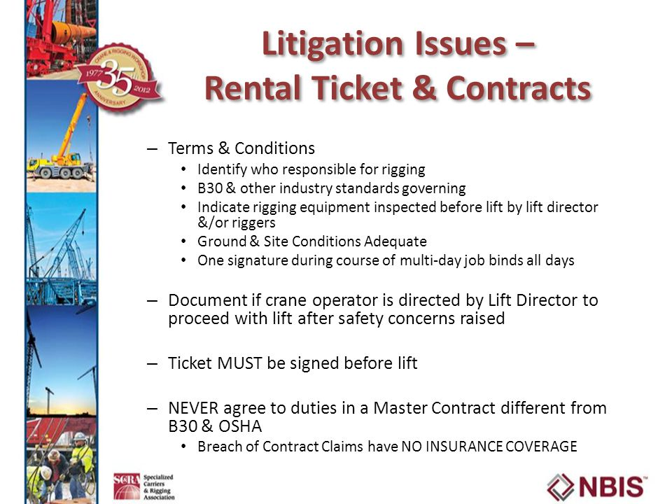 Litigation Issues – Rental Ticket & Contracts