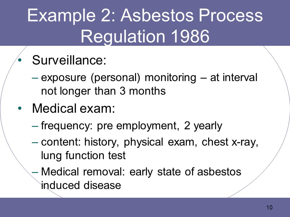 Example 2: Asbestos Process Regulation 1986