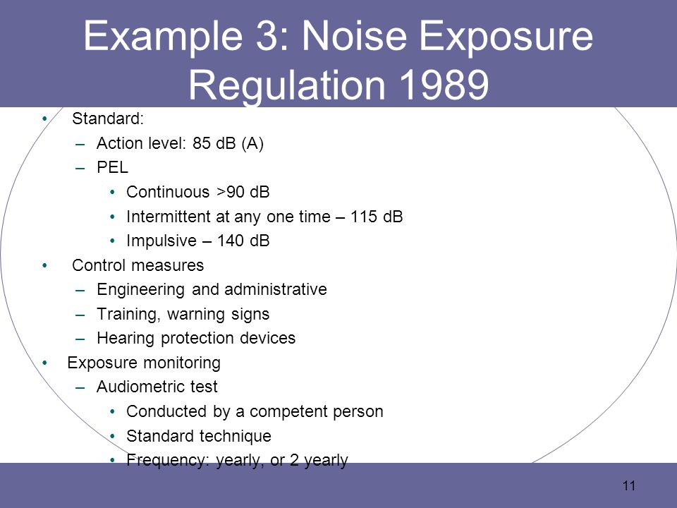 Example 3: Noise Exposure Regulation 1989