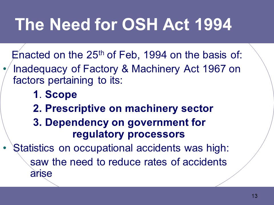 The Need for OSH Act 1994 Enacted on the 25th of Feb, 1994 on the basis of: Inadequacy of Factory & Machinery Act 1967 on factors pertaining to its: