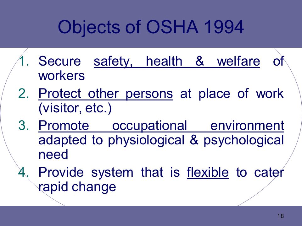 Objects of OSHA 1994 Secure safety, health & welfare of workers