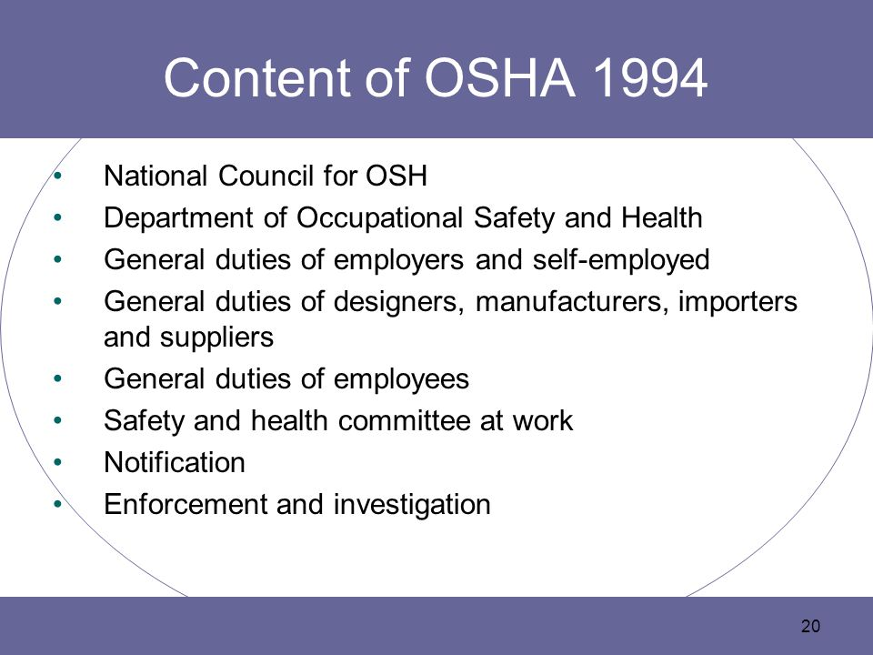 Content of OSHA 1994 National Council for OSH