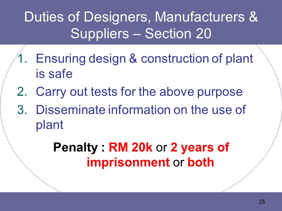 Duties of Designers, Manufacturers & Suppliers – Section 20