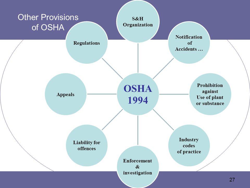 Other Provisions of OSHA