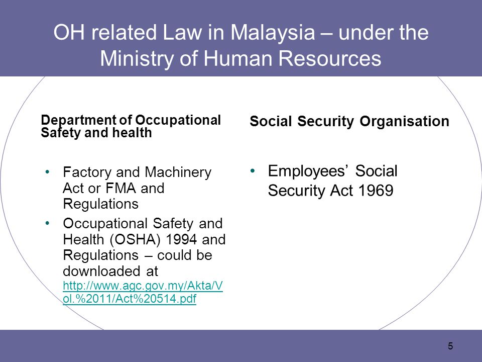 OH related Law in Malaysia – under the Ministry of Human Resources