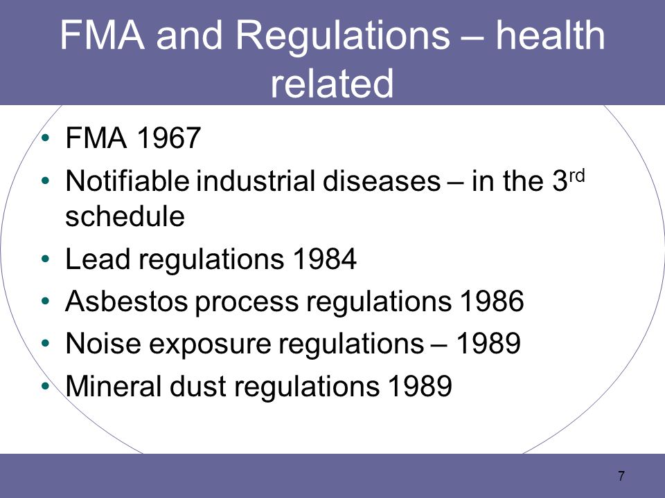 FMA and Regulations – health related