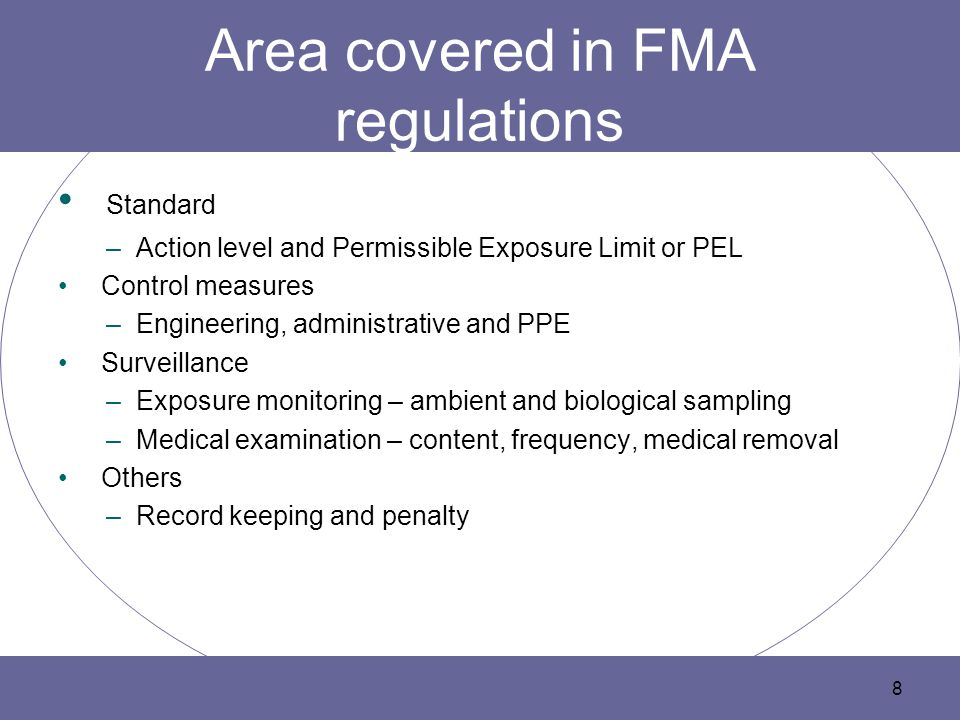 Area covered in FMA regulations