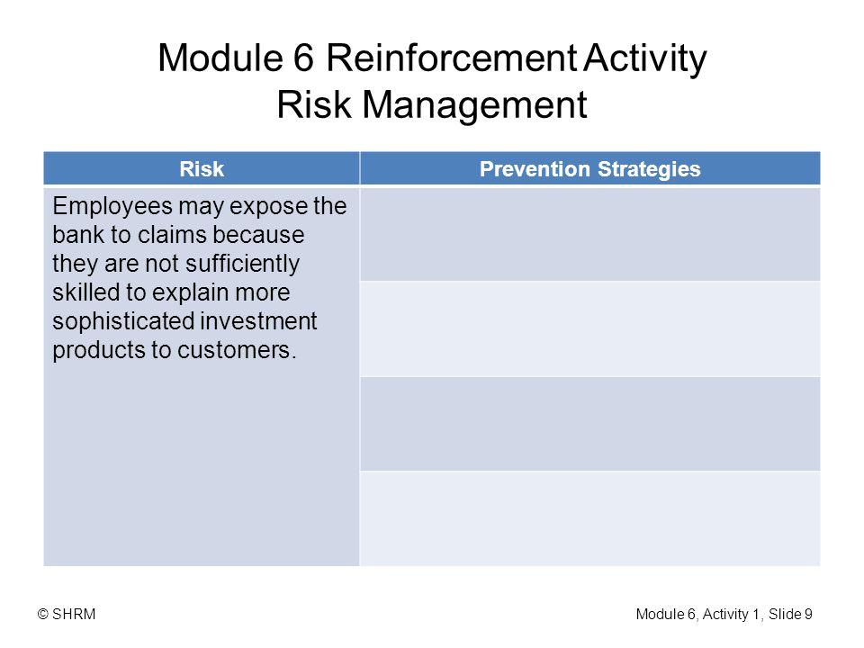 Module 6 Reinforcement Activity Risk Management