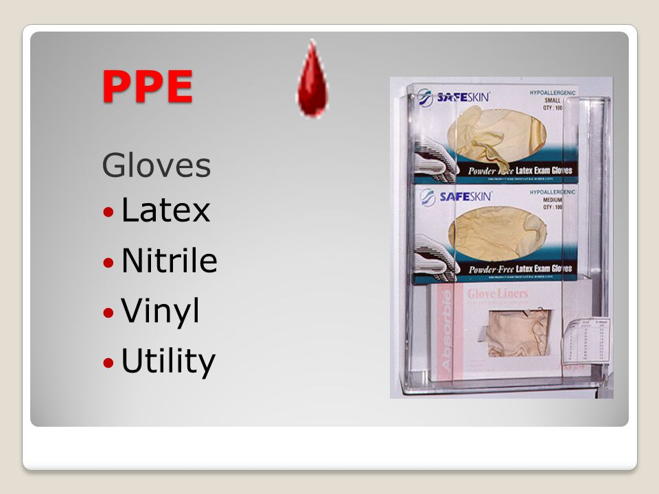 PPE Gloves Latex Nitrile Vinyl Utility 4/15/2017