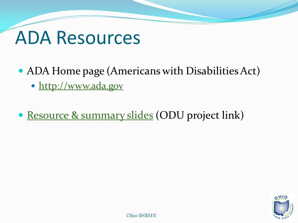 ADA Resources ADA Home page (Americans with Disabilities Act)