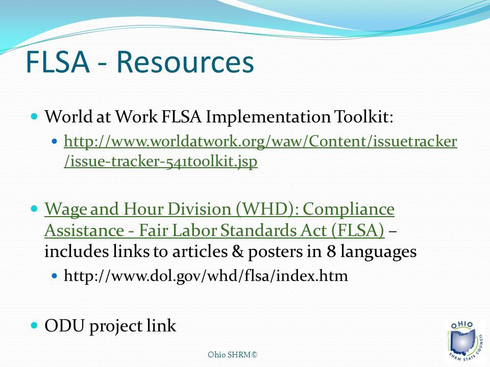 FLSA - Resources World at Work FLSA Implementation Toolkit: