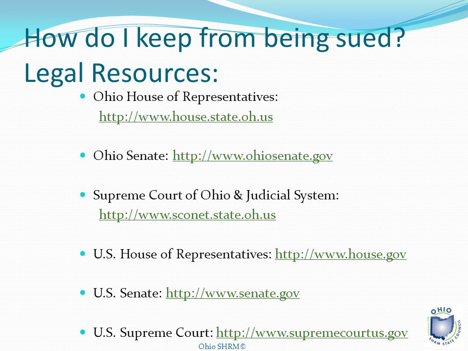How do I keep from being sued Legal Resources: