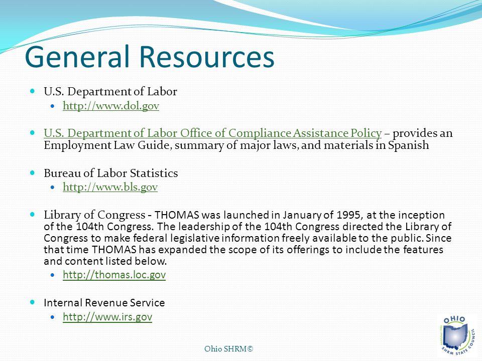 General Resources U.S. Department of Labor