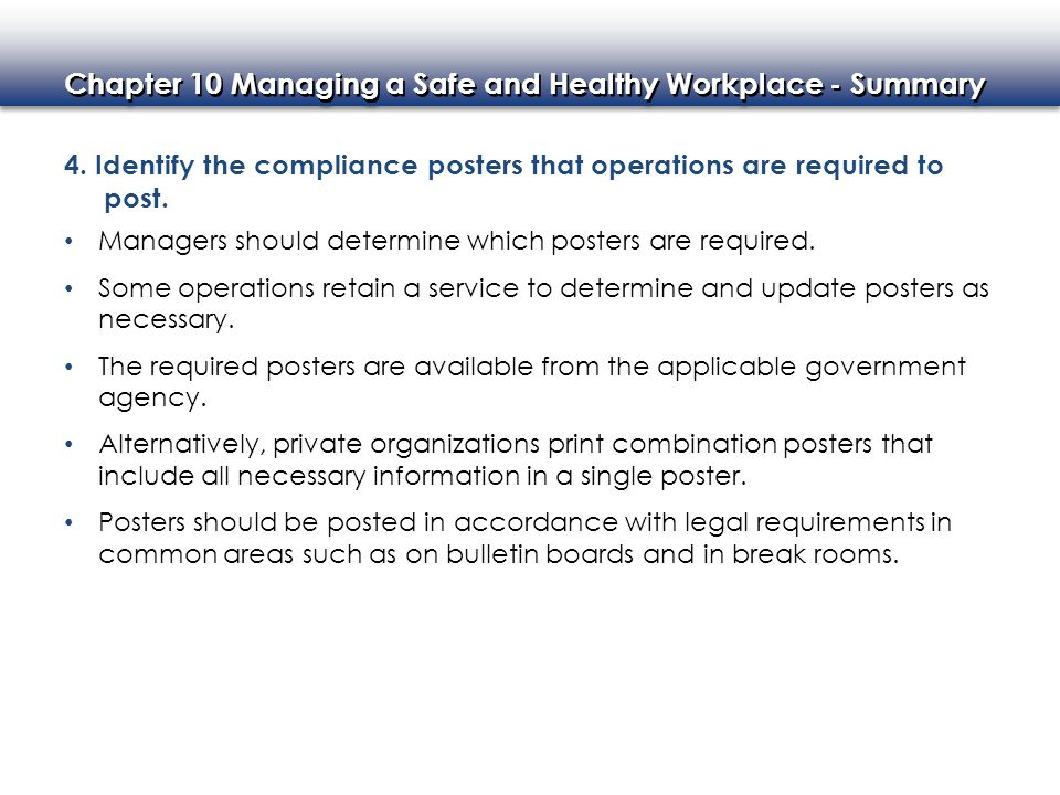 4. Identify the compliance posters that operations are required to post.