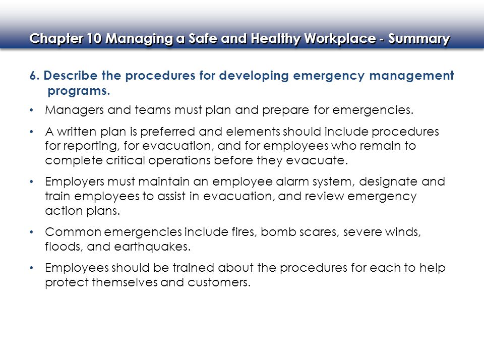 6. Describe the procedures for developing emergency management programs.