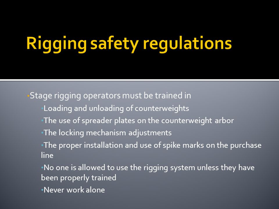 Rigging safety regulations