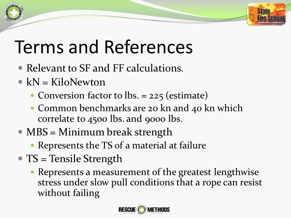 Terms and References Relevant to SF and FF calculations.