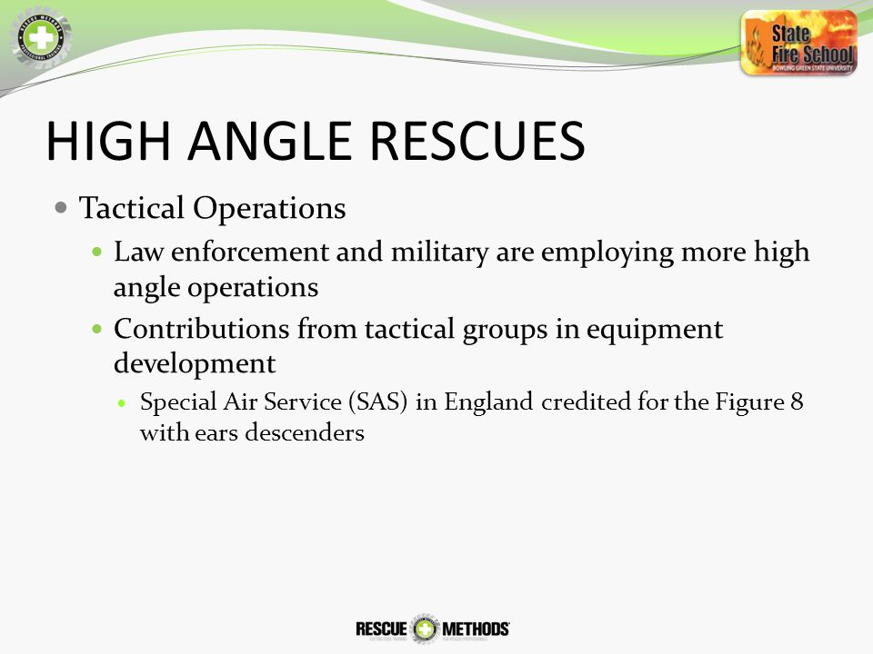 HIGH ANGLE RESCUES Tactical Operations