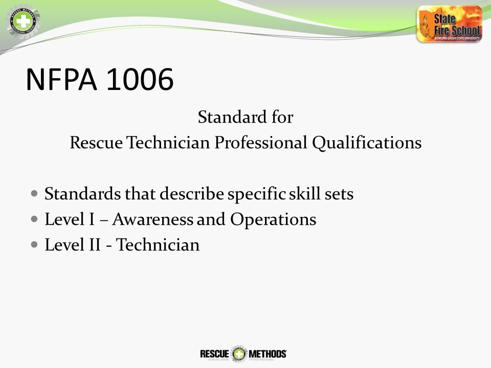 Rescue Technician Professional Qualifications